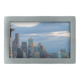 Seattle WA City Skyline evening Panorama Rectangular Belt Buckle