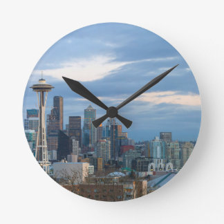Seattle WA City Skyline evening Panorama Round Clock