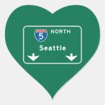 Seattle, WA Road Sign Heart Stickers