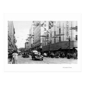 Seattle, WA Street Scene Downtown Photograph Postcard