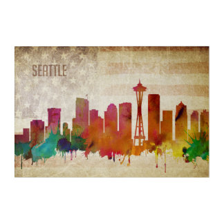 Seattle, WA | Watercolor City Skyline Acrylic Wall Art