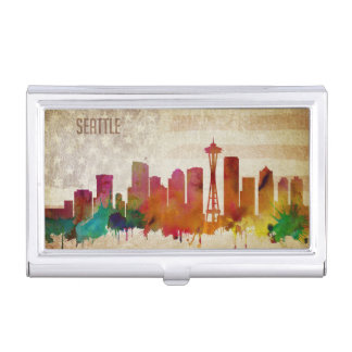 Seattle, WA | Watercolor City Skyline Business Card Holder