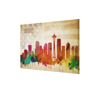 Seattle, WA | Watercolor City Skyline Canvas Print