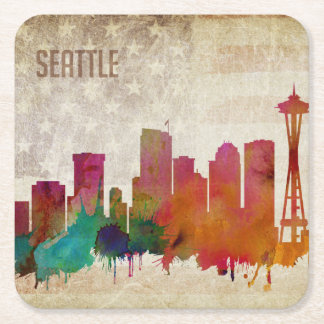 Seattle, WA| Watercolor City Skyline Square Paper Coaster