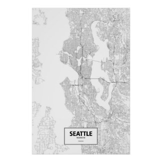 Seattle, Washington (black on white) Poster