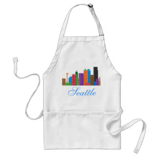Seattle Washington Downtown City Skyline in Colors Adult Apron