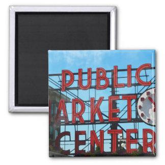 Seattle Washington Public Market Gifts Square Magnet