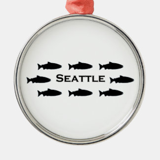 Seattle Washington Salmon Logo Metal Ornament