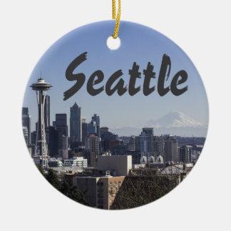 Seattle Washington scene Ceramic Ornament