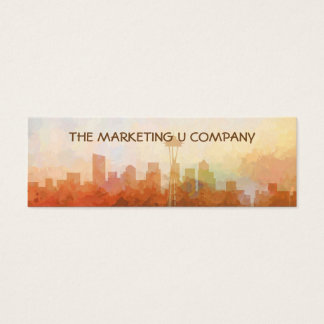 Seattle, Washington Skyline IN CLOUDS Mini Business Card