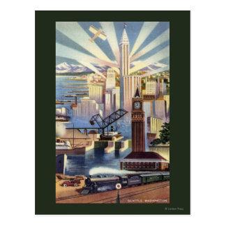 Seattle, Washington - View of Downtown Postcard