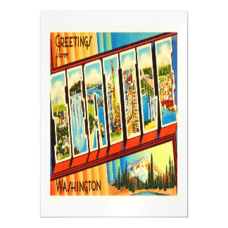 Seattle Washington WA Old Vintage Travel Souvenir Magnetic Invitations