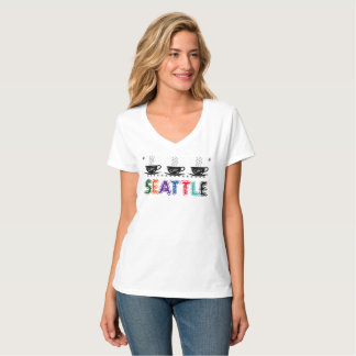 Seattle, Washington with Steamy Coffee Cups T-Shirt