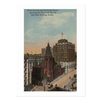Seattle, WAThird Avenue and University Streets Postcard