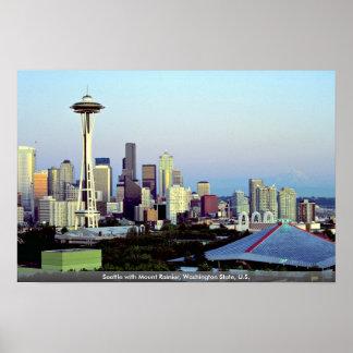 Seattle with Mount Rainier, Washington State, U.S. Poster