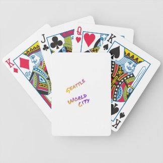 Seattle world city,  colorful text art poker deck