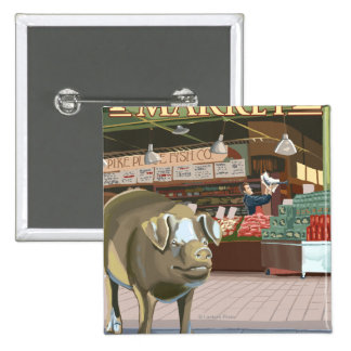 SeattleFish Toss and Bronze Pig at Pike Place Button