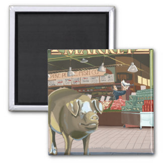 SeattleFish Toss and Bronze Pig at Pike Place Magnet