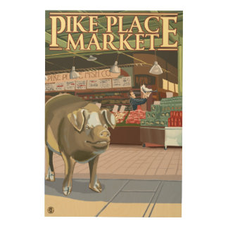 SeattleFish Toss and Bronze Pig at Pike Place Wood Print