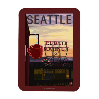 SeattlePike Place Market Sign and Water View Rectangular Photo Magnet