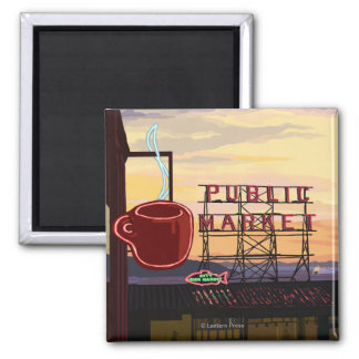 SeattlePike Place Market Sign and Water View Square Magnet