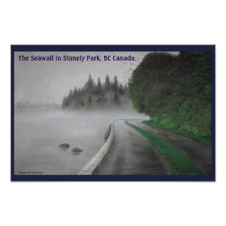 Seawall at Stanely Park, Vancouver BC, Canada. Poster