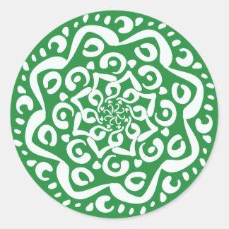 Seaweed Mandala Round Sticker
