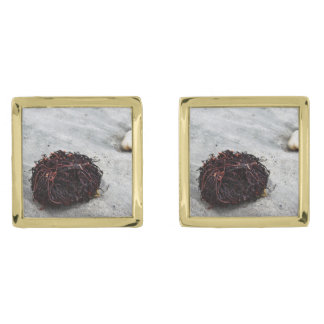 Seaweed Roots Gold Finish Cuff Links
