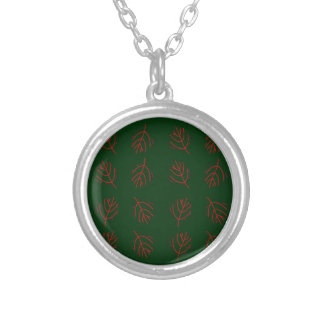 Seaweeds green silver plated necklace