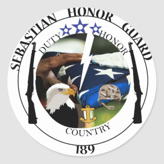Sebastian Honor Guard Stickers. Classic Round Sticker