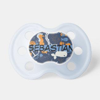 """Sebastian"" Personalized Name Ocean Baby Pacifiers"