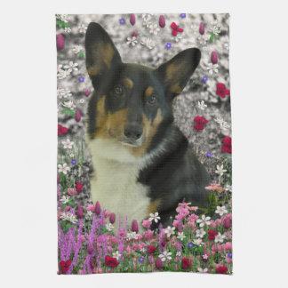 Sebastian the Welsh Corgi in Flowers Kitchen Towels