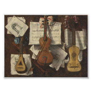 Sebastiano Lazzari Trompe - Violin and Music Notes Photographic Print