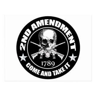 Second Amendment Come and Take It Skull and AR's Postcard