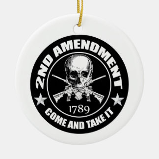 Second Amendment Come and Take It Skull and AR's Round Ceramic Decoration
