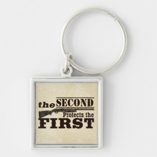 Second Amendment Protects First Amendment Silver-Colored Square Key Ring