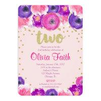 2nd birthday invitations announcements zazzle second birthday invitation girl pink purple gold filmwisefo Choice Image