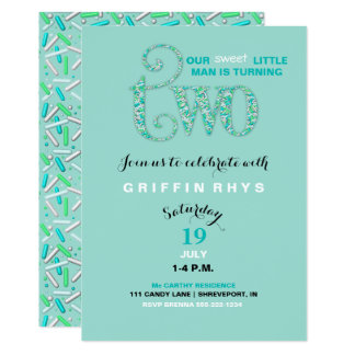 Second Birthday Mint & Aqua Sprinkles 2 Year Old 13 Cm X 18 Cm Invitation Card