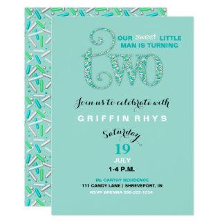 Second Birthday Mint & Aqua Sprinkles 2 Year Old 13 Cm X 18 Cm Invitation Card