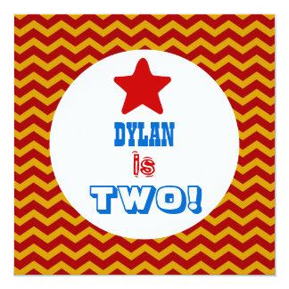 "Second Birthday TWO Year Old Chevrons Boy V02B 5.25"" Square Invitation Card"