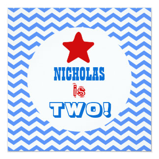 """Second Birthday TWO Year Old Chevrons Boy V02C 5.25"""" Square Invitation Card"""