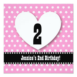 """Second Birthday TWO Year Old Girl Pink Stars V02 5.25"""" Square Invitation Card"""