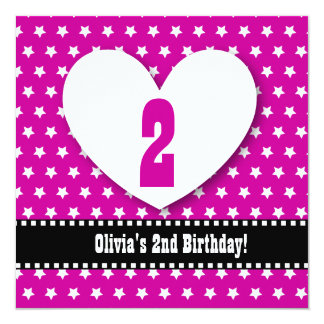 """Second Birthday TWO Year Old Girl Pink Stars V04 5.25"""" Square Invitation Card"""