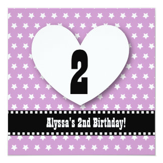 """Second Birthday TWO Year Old Girl Purple Stars V03 5.25"""" Square Invitation Card"""
