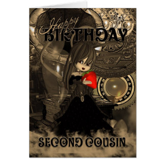 Second Cousin Birthday Card Steampunk Cutie Pie