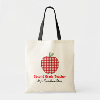 Second Grade Teacher Bag - Red Gingham Apple