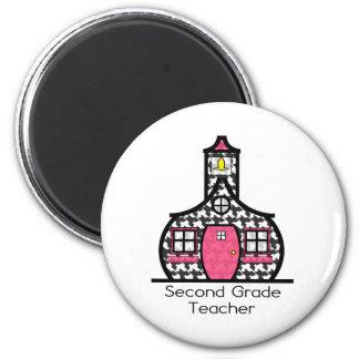 Second Grade Teacher Houndstooth Schoolhouse 6 Cm Round Magnet