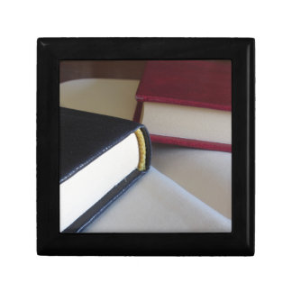 Second hand books with blank pages on a table gift box