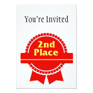 Second Place Red & Gold Ribbon 13 Cm X 18 Cm Invitation Card