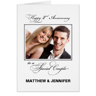 Second Wedding Anniversary Custom Name/Photo Card